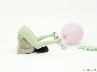 유연한 십대 소녀 스튜디오에서 포즈 3d 포르노 무대