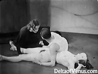 골동품 포르노 1930 년대 ffm 삼인조의 나체 주의자