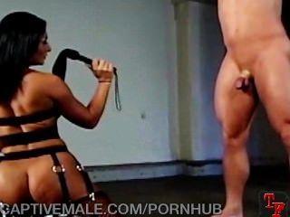 섹시한 dominatrix는 그의 거시기를 원한다.