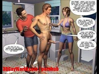 절망적 인 남편 3d 양성의 mmf 만화 애니메이션 만화 또는 헨타이 툰스