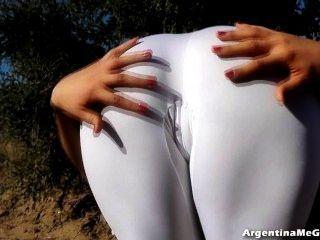 놀라운 시체 하이틴!울트라 꽉 화이트 스판덱스 완벽 엉덩이에!