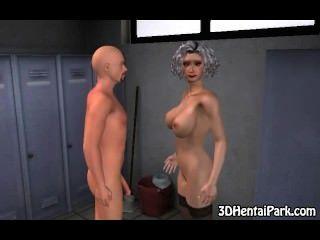 폭시 3D 회색 머리 베이비는 좆을 엿 먹고 좆된다.