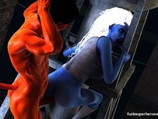 엉덩이와 섹시한 푸른 창녀
