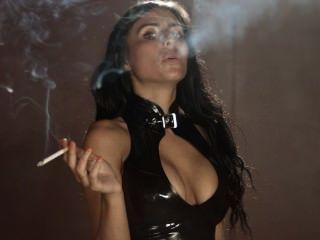 흡연 sophie 섹시한 타이트한 라텍스 레깅스와 탑 착용