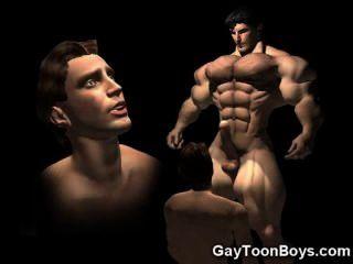 3d 근육 게이 큰 수탉 판타지!