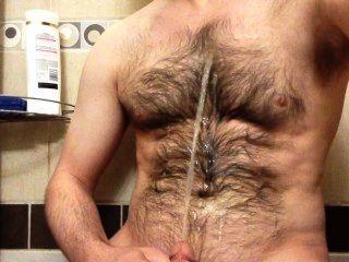 내 털이 많은 가슴에 오줌의 샘을 뿌리는 것.