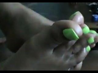 녹색 발가락 footjob