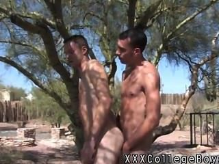게이 섹스의 암컷이 자지와 수비를 수음하는 나무에 맞서다.