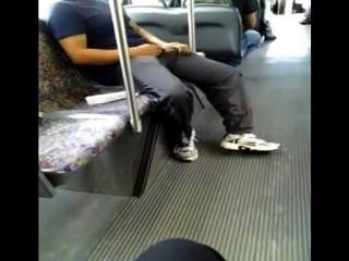 버스에서 호색한 (파리를 잡으려고?)