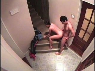 계단에서 놀랍다.