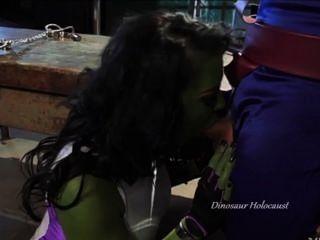 음경에 녹색 창녀 창녀 질식 질식