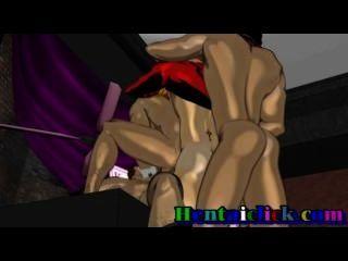 근육질의 애니메이션 게이 하드 코어 펌핑