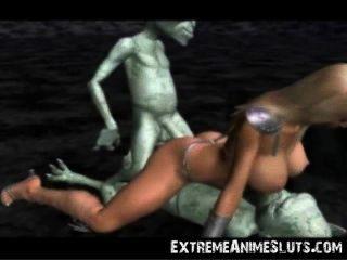 외계인은 3D 공주를 쾅!