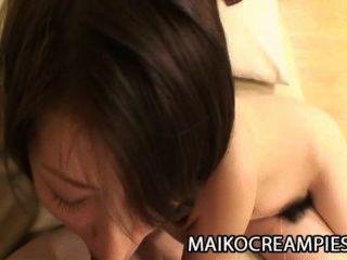 에리 사가와 달콤한 털이 일본 고양이 뒤에서 뚫고