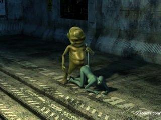 외계인 괴물이 진짜 육즙 고양이 고양이를 공격!침공이 시작되었습니다!